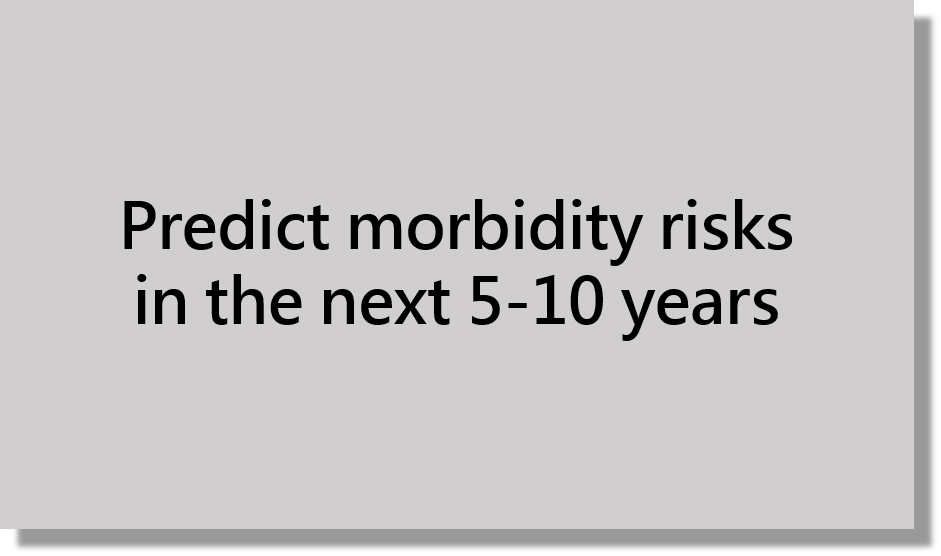 Predict morbidity risks in the next 5-10 years