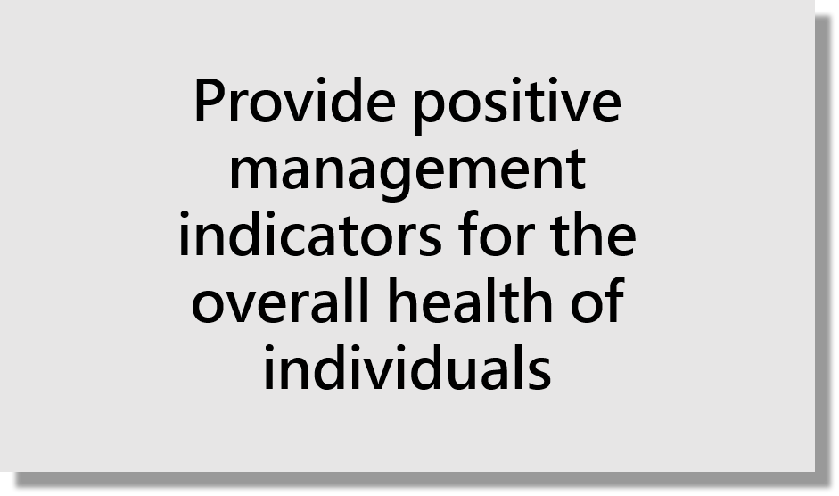 Provide positive management indicators for the overall health of individuals